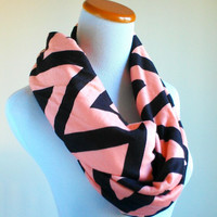 Champagne Black chevron infinity jersey knit loop scarf