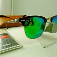 RAY-BAN RB3016 1145/19 CLUBMASTER TORTOISE WITH GREEN FLASH SUNGLASSES 51MM NEW