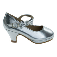 Dana62K Silver By Forever Link, Girly Round Toe Pump w Low Heel & Rhinestone Bow, Kids Children