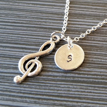 Silver Clef Note Necklace - Charm Necklace - Personalized Necklace - Custom Gift - Initial Necklace - Musical Necklace - Band Necklace