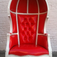 VALENTINE RED & WHITE Porters Chair Domed by VENETIANSOCIETY