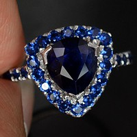 A Vintage 2.9CT Pear Cut Blue Sapphire Halo Ring