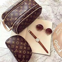 LV Louis Vuitton classic hot sale ladies cosmetic bag cosmetic bag double zipper wallet purse handbag