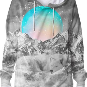 Put Your Thoughts To Sleep (Peaceful Moon / Wolf Spirit) Unisex Hoodie Sweatshirt created by soaringanchordesigns | Print All Over Me