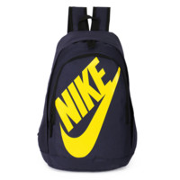 NIKE Fashion Letters Sports backpack (7 color) Navy blue(yellow letters)