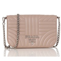 Prada Diagramme Cipria Beige Quilted Silver Chain Crossbody 1BP013
