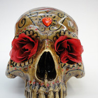 Day of the dead sugar skull with roses by wickedutopia on Etsy