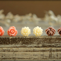 Flower Earring Studs Trio: Vintage Pink Rose, Cream Daisy, Redwood Rose Bud