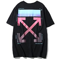 OFF-WHITE 2019 new tide brand gradually printed men and women round neck shirt Black