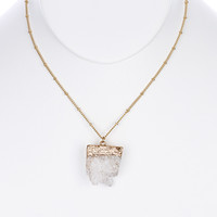 Raw Cut Gem Necklace in White