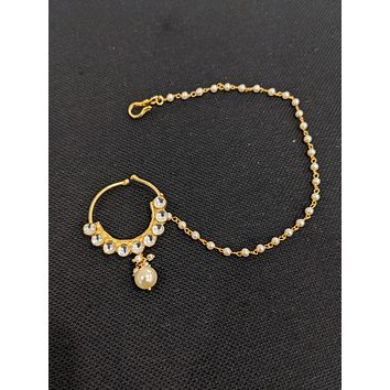 Traditional kundan stone clip on nose ring with pearl bead chain