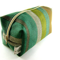Makeup Bag with squared corners, Gadget Case, travel, on the go, teal, green, brown, striped, unisex, under 10, small, zippered, pencil case