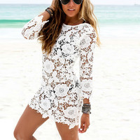 Hot Sales Women Lace Crochet Tassel Dresses Sexy Hollow Out Cover Up Beach Dresses White