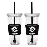 Pittsburgh Steelers 2-pc. Double-Walled Straw Tumbler Set (Stl Team)