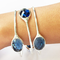 Sterling Silver Gemstone Bangle