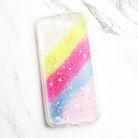 Striped Glitter Clear iPhone Case