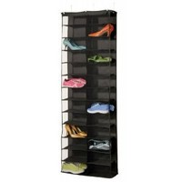 Richards Homewares 26 Pocket Over the Door Organizer - Black Polyester Color - Black