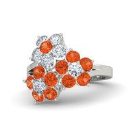 Platinum Ring with Fire Opal & Diamond