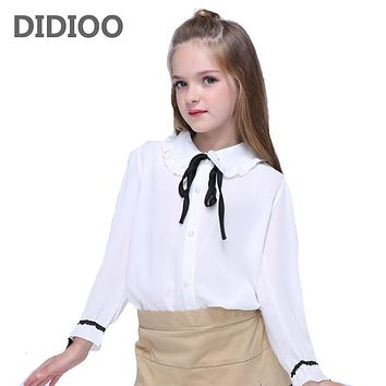 Girls Chiffon Blouses for Kids White Shirts Baby Solid Tops Teenage Girl Long Sleeve Blouse School Uniform Shirts