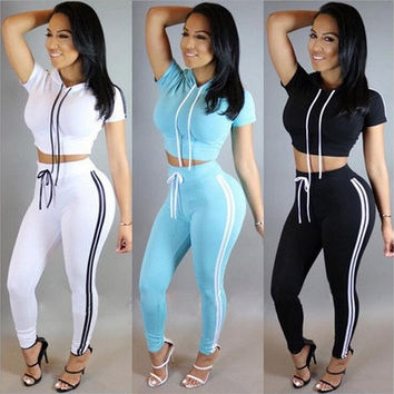 2016 New Women Tracksuit Cotton Sport Suit Hoodies Top and High Waist Skinny Jogger Pants [9221958148]