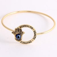 Hamsa Strength Protect Health Bangle Bracelet - Gold or Silver