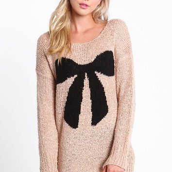 BOW CHUNKY KNIT SWEATER