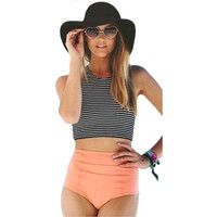 High Waist Two Piece Striped Vest Bikini Swimsuit -0314