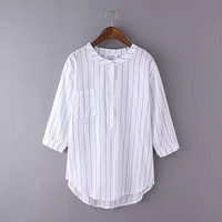 Stripe Button-Up Sleeve Shirt With Pocket