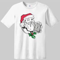Beer Drinking Santa Christmas T-shirt | Graphic Tees | Drinking T-shirts | Alcohol T-shirts | Novelty T-shirts\ Santa T-shirts | Christmas