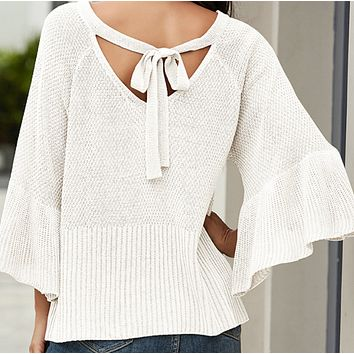 New women's fashion loose flared sleeve halter strap top