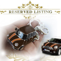 Brown mini car,Personality keychain, especially,drop of oil plus ,grade crystal, white gold car,luxury,exclusive,New year ,Christmas Gifts,