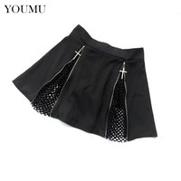 Women Punk Goth Skirt Sexy Mini Short A-line Mesh Hollow Out High Waist Skirts Harajuku Cross Zipper Retro Fashion 906-531