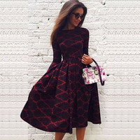Girl Women Vintage Long Sleeve Boho Floral Party  Evening Prom Maxi Dress