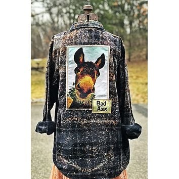 Bad Donkey Flannel- Black Distressed Angry Minnow Clothing Co.