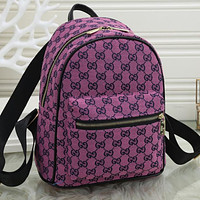 GG G Fully printed letters ladies shopping backpack school bag Daypack Purple