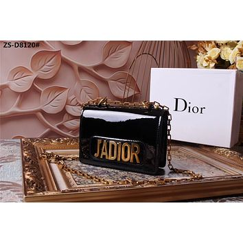 DIOR WOMEN'S 2018 HOT STYLE GLOSS LEATHER J'ADIOR INCLINED CHAIN SHOULDER BAG