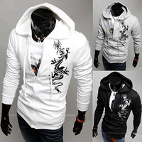 Dragon Tattoo Print Zip Up Hoodie