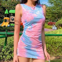 Tie-dye drawstring pleated pleated vest dress fashion party eye-catching stitching sleeveless one-step skirt blue pink