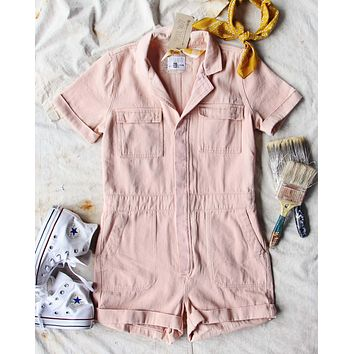 Rosie Short Coveralls in Pink