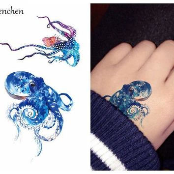 Waterproof Temporary Tattoo sticker for body art color Sea Octopus fish water transfer flash tattoo fake tatoo for girl tattoos