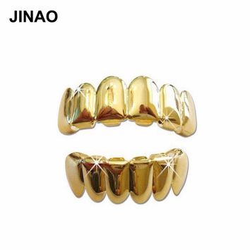 JINAO New Custom Fit Gold Color Plated Hip Hop Teeth Grills Caps Top & Bottom Grill Set  Gold Classic Grillz Ship from US