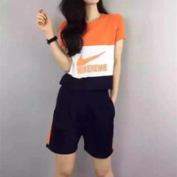 """NIKE"" Fashion Casual Multicolor Clover Letter Print Round Neck Short Sleeve Set Two-Piece Sportswear"