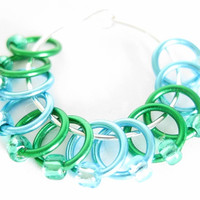 Extra Small Stitch markers for socks | Lace stitch marker | Snag free knitting stitchmarker | Gift for Knitters | blue, green | #0530