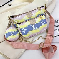 LV Louis Vuitton Hot Sale Colorblock Letter Three-piece Mahjong Bag Shoulder Bag Messenger Bag