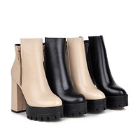 Zipper Ankle Boots Chunky Heel Pumps Women Shoes Fall|Winter 2825
