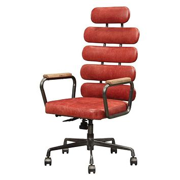 ACME Calan Executive Office Chair - - Vintage Red Top Grain Leather