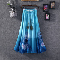 2016 Chiffon Maxi Skirts Womens Solid Etek Pleated Summer Vestidos Cute Tulle Office Long Skirts American Apparel Saia Clothing