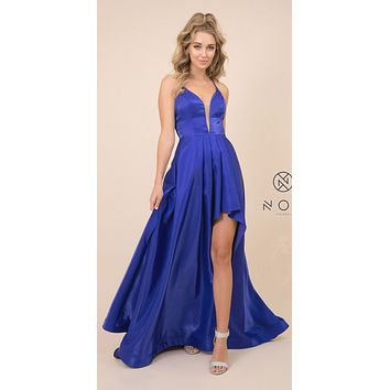 Deep Purple High and Low Prom Dress with Strappy-Back