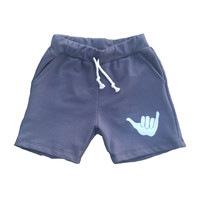 Kid's Shaka Vibes Sweatshort in Asphalt