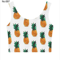 Sexy Short Girls Crop Top Pineapples Tropical Printed Casual Sports Jogging Women Bare Midriff Tank Top